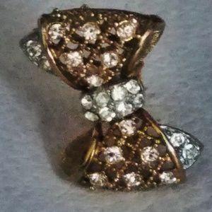 Vintage Rhinestone Bow Gold Tone Clip On Earrings